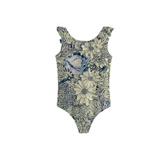 Abstract Art Artistic Botanical Kids  Frill Swimsuit