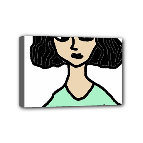 Angry Girl Mini Canvas 6  X 4  (stretched) by snowwhitegirl