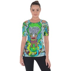 Cosmic Planet Angel Shoulder Cut Out Short Sleeve Top