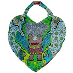 Cosmic Planet Angel Giant Heart Shaped Tote
