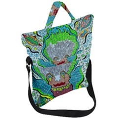 Cosmic Planet Angel Fold Over Handle Tote Bag