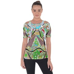 Cosmic Pyramid Shoulder Cut Out Short Sleeve Top