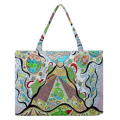 Cosmic Pyramid Zipper Medium Tote Bag