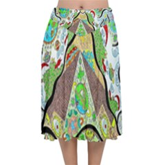 Cosmic Pyramid Velvet Flared Midi Skirt