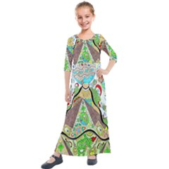 Cosmic Pyramid Kids  Quarter Sleeve Maxi Dress