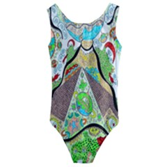 Cosmic Pyramid Kids  Cut-out Back One Piece Swimsuit