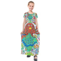 Ocalafish Kids  Short Sleeve Maxi Dress by chellerayartisans