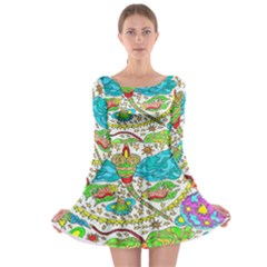 Cosmic Dragonflies Long Sleeve Skater Dress