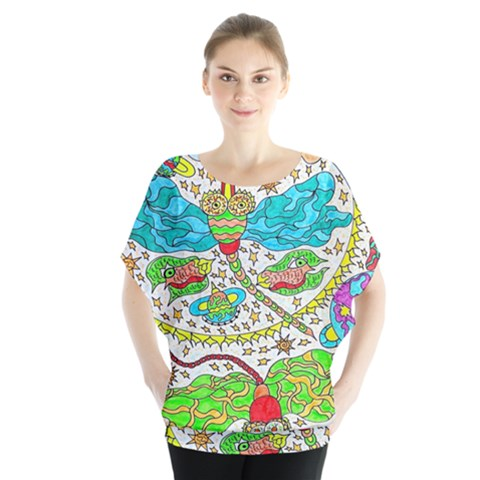 Cosmic Dragonflies Blouse by chellerayartisans