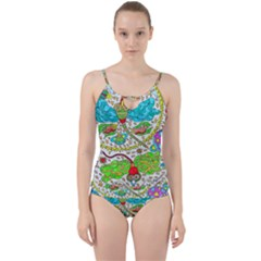 Cosmic Dragonflies Cut Out Top Tankini Set
