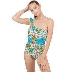 Cosmic Dragonflies Frilly One Shoulder Swimsuit