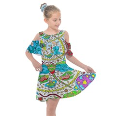 Cosmic Dragonflies Kids  Shoulder Cutout Chiffon Dress