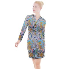 Supersonic Volcanic Moonship Button Long Sleeve Dress