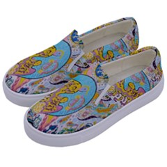 Supersonic Volcanic Moonship Kids  Canvas Slip Ons by chellerayartisans