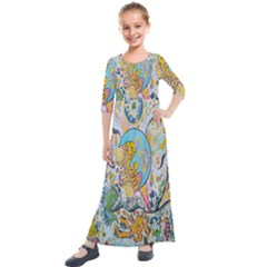 Supersonic Volcanic Moonship Kids  Quarter Sleeve Maxi Dress