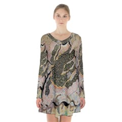 Lizard Volcano Long Sleeve Velvet V-neck Dress