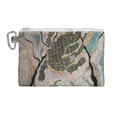 Lizard Volcano Canvas Cosmetic Bag (large) by chellerayartisans