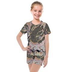 Lizard Volcano Kids  Mesh Tee And Shorts Set