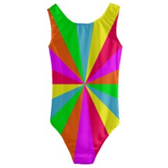 Neon Rainbow Burst Kids  Cut Out Back One Piece Swimsuit