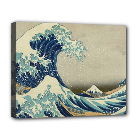 The Classic Japanese Great Wave Off Kanagawa By Hokusai Deluxe Canvas 20  X 16  (stretched) by PodArtist