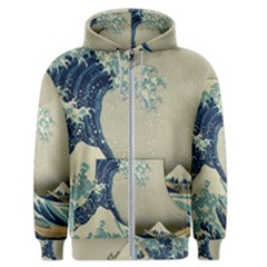 The Classic Japanese Great Wave Off Kanagawa By Hokusai Men s Zipper Hoodie by PodArtist