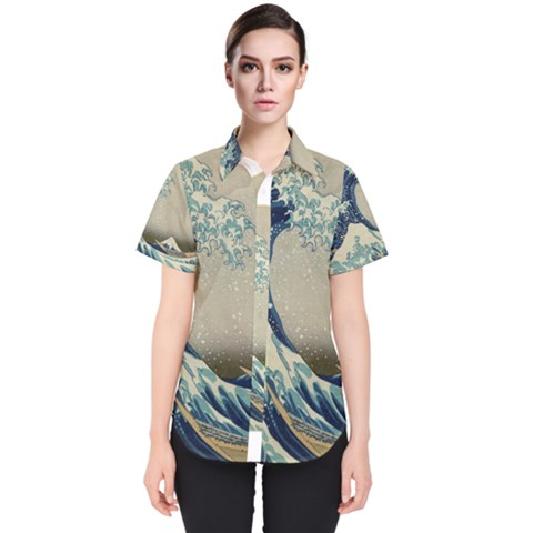 The Classic Japanese Great Wave Off Kanagawa By Hokusai Women s Short Sleeve Shirt by PodArtist
