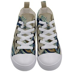 The Classic Japanese Great Wave Off Kanagawa By Hokusai Kid s Mid Top Canvas Sneakers