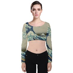 The Classic Japanese Great Wave Off Kanagawa By Hokusai Velvet Long Sleeve Crop Top by PodArtist