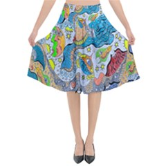 Angel Mermaids Flared Midi Skirt by chellerayartisans