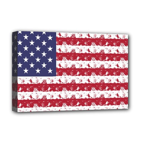 Usa Flag Halloween Holiday Nightmare Stripes Deluxe Canvas 18  X 12  (stretched) by PodArtist