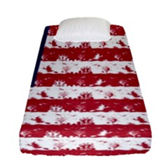 Usa Flag Halloween Holiday Nightmare Stripes Fitted Sheet (single Size) by PodArtist
