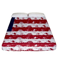 Usa Flag Halloween Holiday Nightmare Stripes Fitted Sheet (king Size) by PodArtist