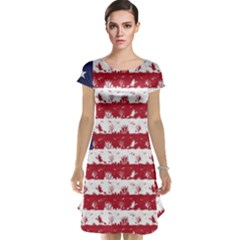 Usa Flag Halloween Holiday Nightmare Stripes Cap Sleeve Nightdress by PodArtist