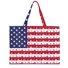 Usa Flag Halloween Holiday Nightmare Stripes Zipper Large Tote Bag by PodArtist