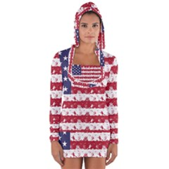 Usa Flag Halloween Holiday Nightmare Stripes Long Sleeve Hooded T Shirt by PodArtist