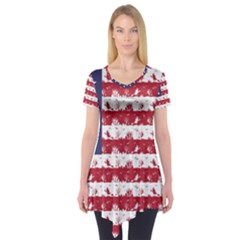 Usa Flag Halloween Holiday Nightmare Stripes Short Sleeve Tunic  by PodArtist