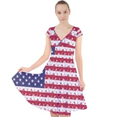 Usa Flag Halloween Holiday Nightmare Stripes Cap Sleeve Front Wrap Midi Dress by PodArtist