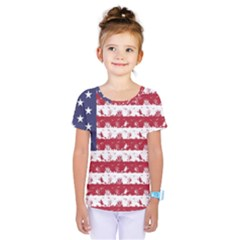 Usa Flag Halloween Holiday Nightmare Stripes Kids  One Piece Tee by PodArtist