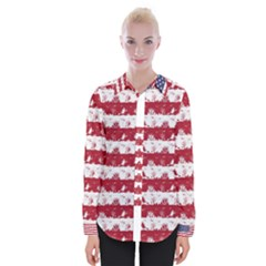 Usa Flag Halloween Holiday Nightmare Stripes Womens Long Sleeve Shirt by PodArtist