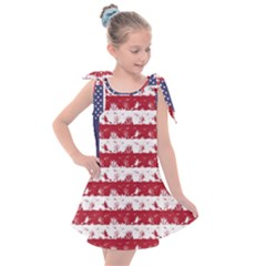 Usa Flag Halloween Holiday Nightmare Stripes Kids  Tie Up Tunic Dress by PodArtist