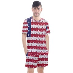 Usa Flag Halloween Holiday Nightmare Stripes Men s Mesh Tee And Shorts Set