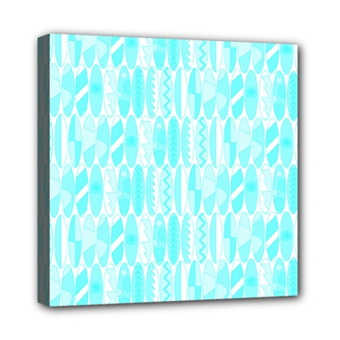 Aqua Blue Colored Waikiki Surfboards  Mini Canvas 8  X 8  (stretched) by PodArtist