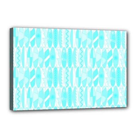 Aqua Blue Colored Waikiki Surfboards  Canvas 18  X 12  (stretched) by PodArtist