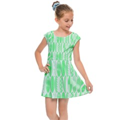 Bright Lime Green Colored Waikiki Surfboards  Kids Cap Sleeve Dress by PodArtist