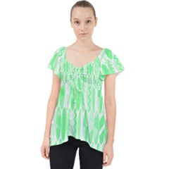 Bright Lime Green Colored Waikiki Surfboards  Lace Front Dolly Top