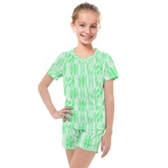 Bright Lime Green Colored Waikiki Surfboards  Kids  Mesh Tee And Shorts Set by PodArtist