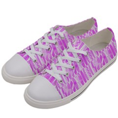 Bright Pink Colored Waikiki Surfboards  Women s Low Top Canvas Sneakers by PodArtist