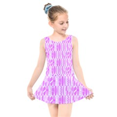 Bright Pink Colored Waikiki Surfboards  Kids  Skater Dress Swimsuit