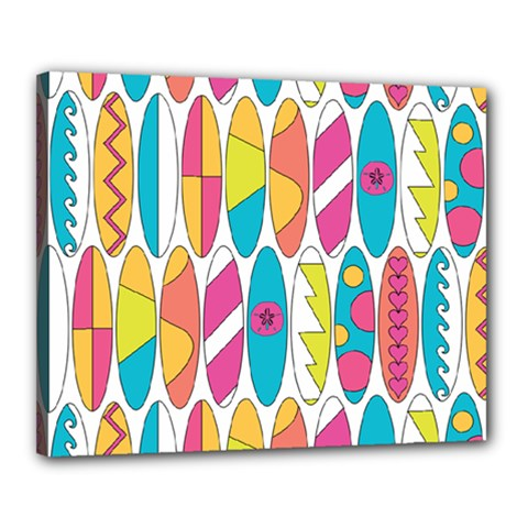 Mini Rainbow Colored Waikiki Surfboards  Canvas 20  X 16  (stretched) by PodArtist