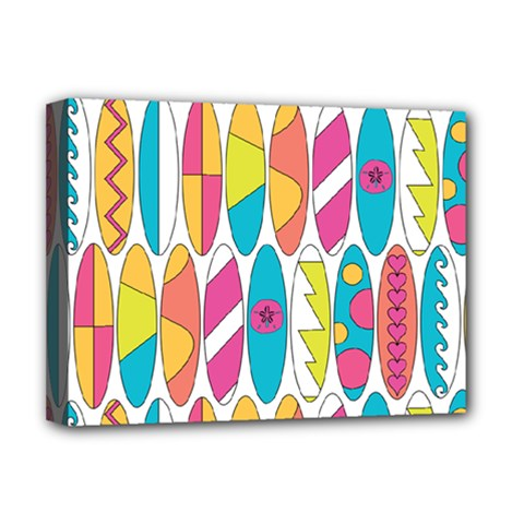 Mini Rainbow Colored Waikiki Surfboards  Deluxe Canvas 16  X 12  (stretched)  by PodArtist